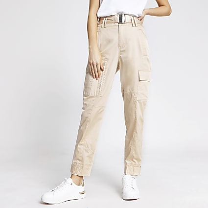 Beige high waist slim leg utility trousers