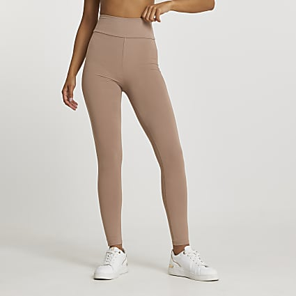 Beige high waisted leggings