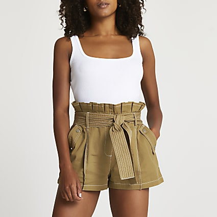 Beige high waisted paperbag shorts
