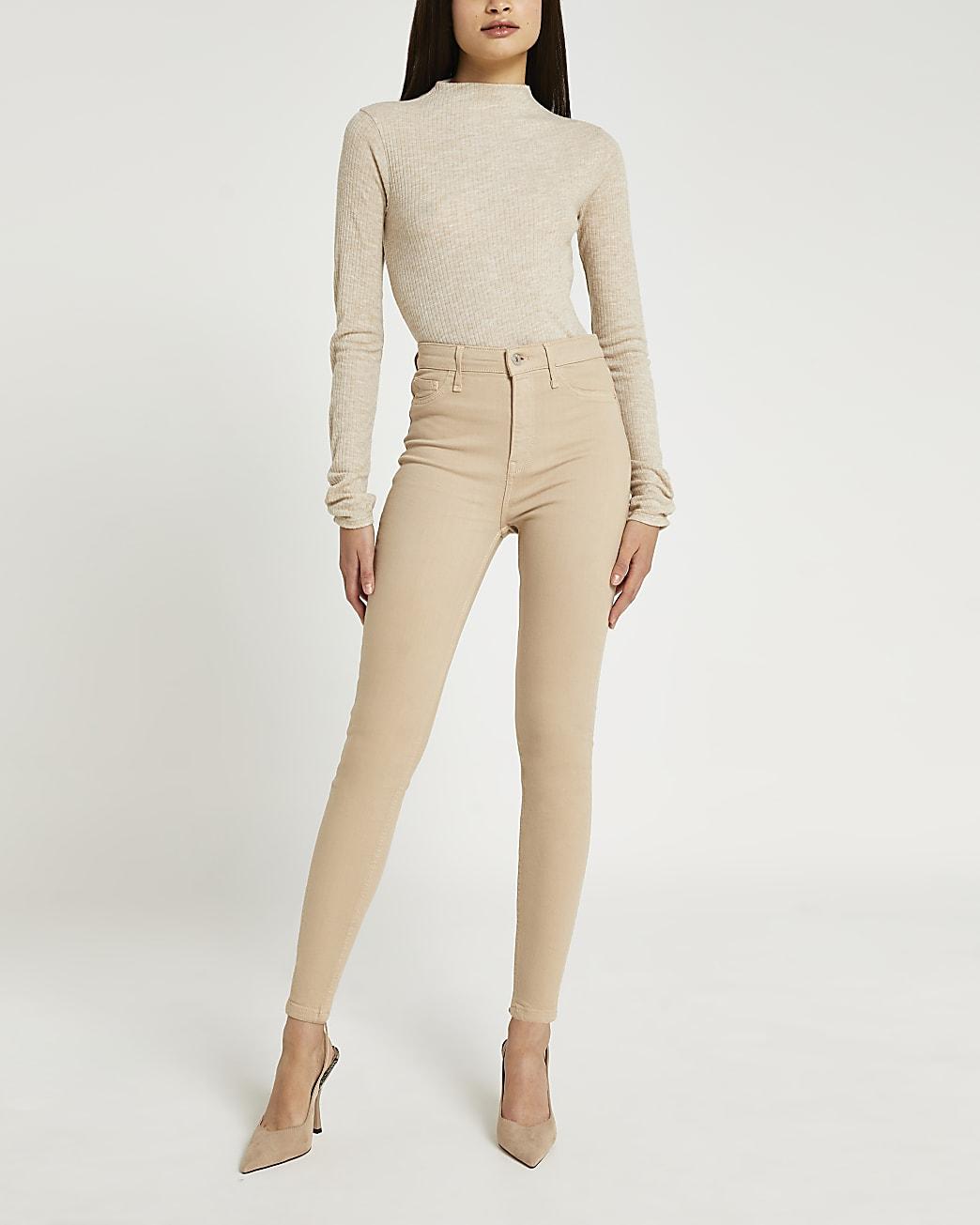 Beige high waisted skinny jeans