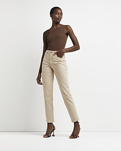 Beige high waisted straight jeans
