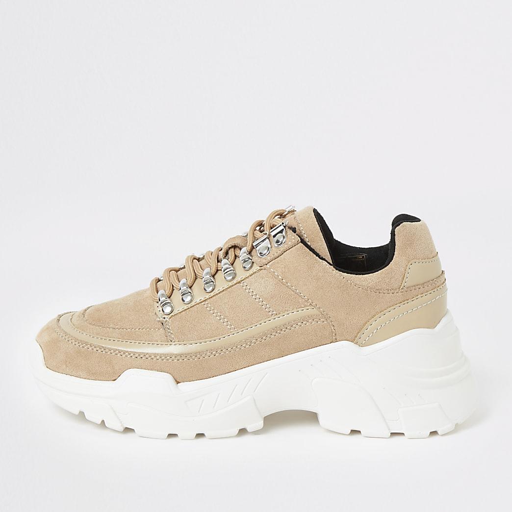 Grobe Hiking-Sneaker in Beige