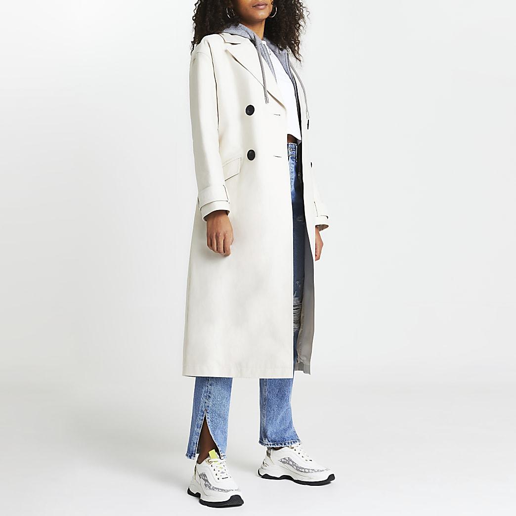 Beige hooded trench coat