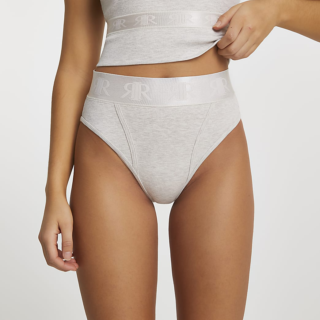 Beige Intimates high waisted knickers