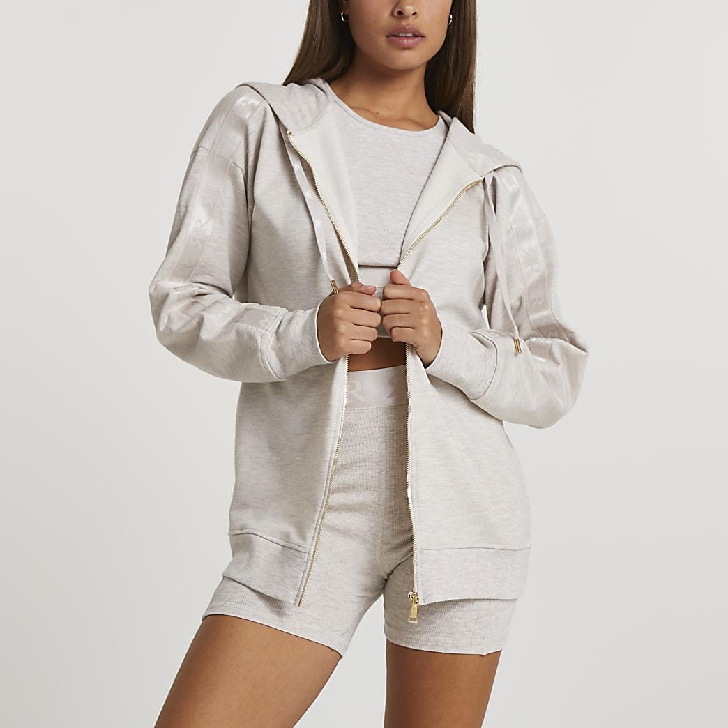 Beige Intimates zip up hoodie