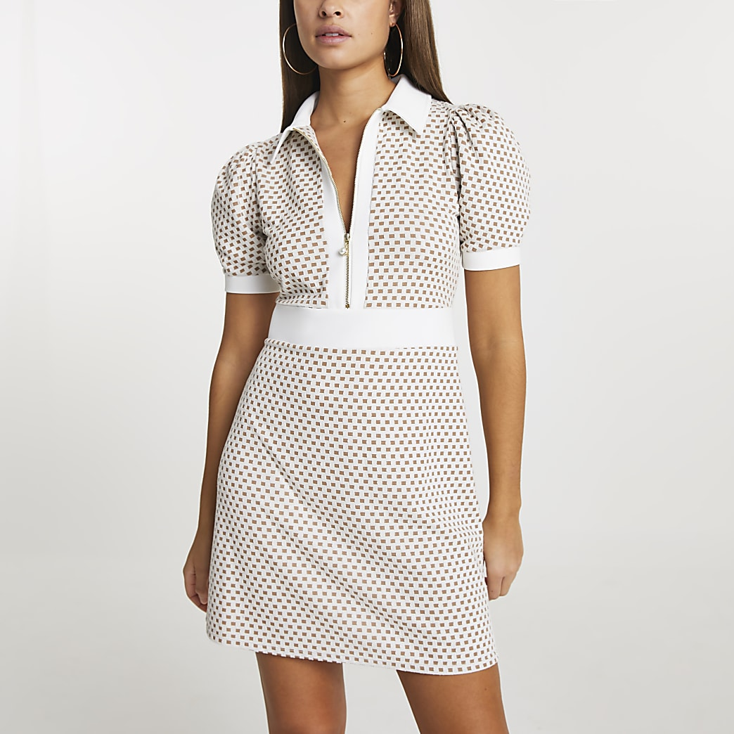 Beige jacquard collared mini dress