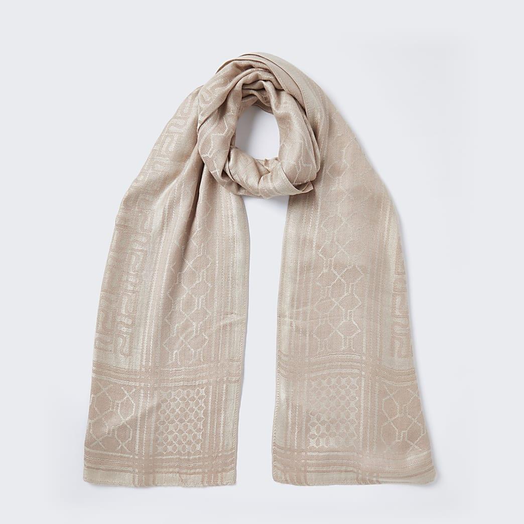 Beige jacquard monogram scarf