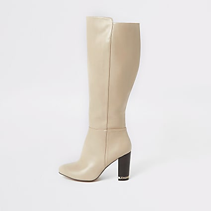 Beige knee high wide fit heeled boots