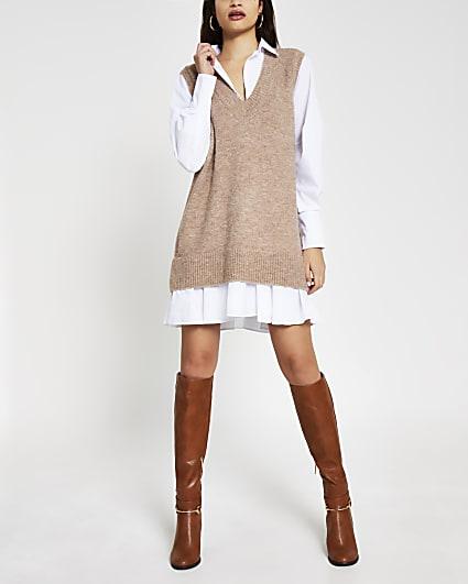 Beige knitted shirt dress