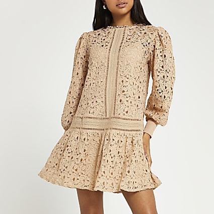 Beige lace mini dress