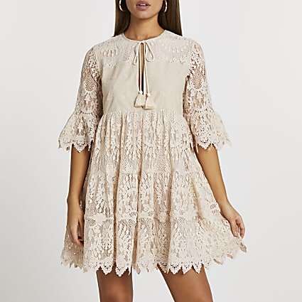 Beige lace tie front mini dress
