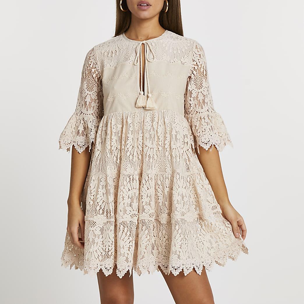 Beige lace tie front mini dress