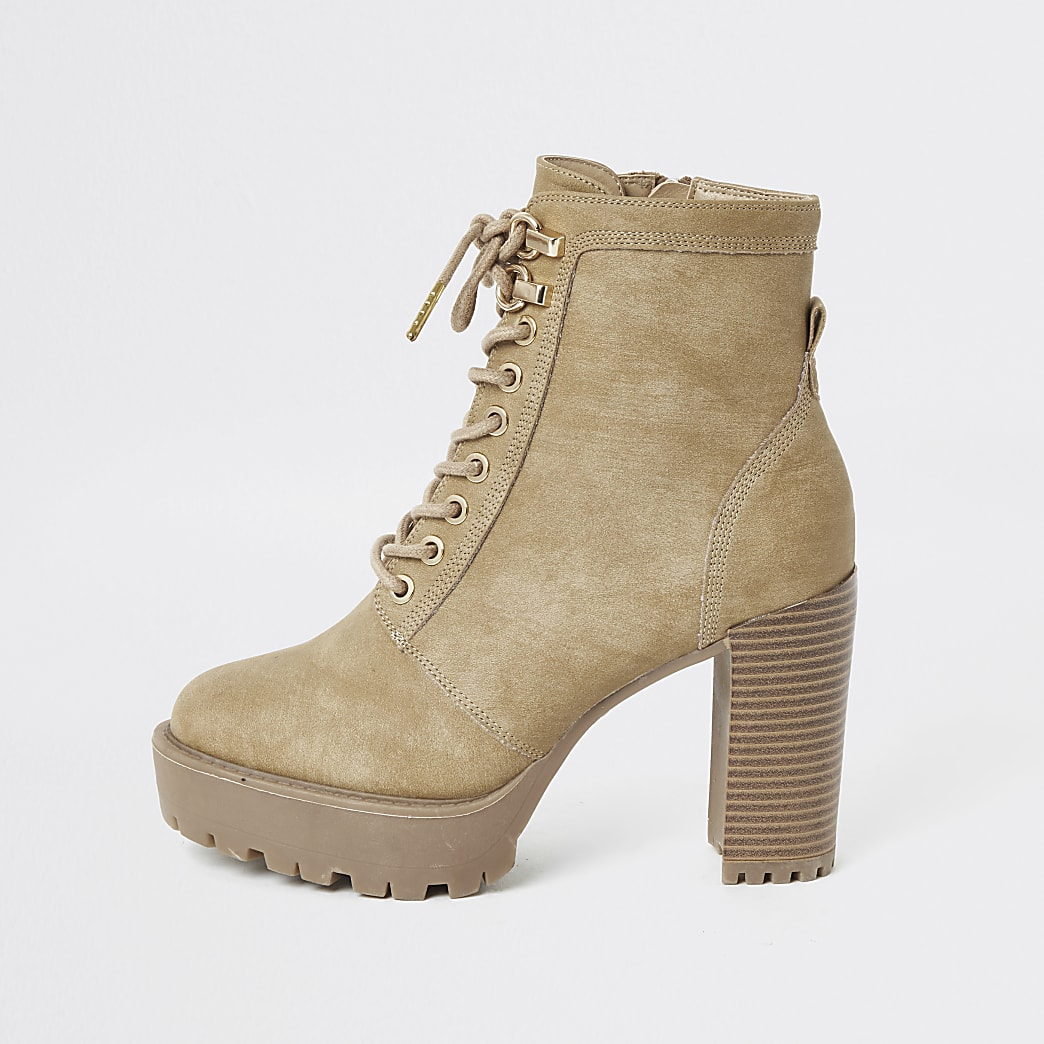 Beige lace-up chunky high heel hiker boots