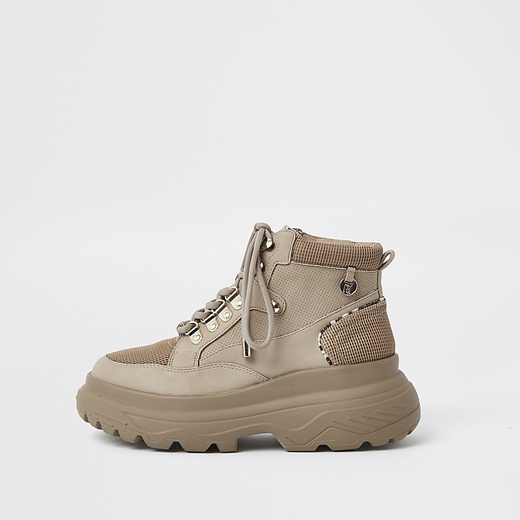 Beige lace up hiker ankle boot
