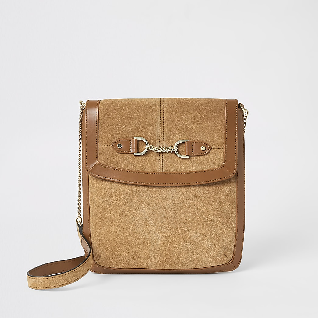 Beige leather chain front messenger bag