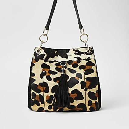 Beige leather leopard print bag
