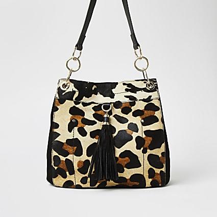 Beige leather leopard print bag