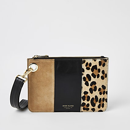 Beige leather leopard print block clutch bag