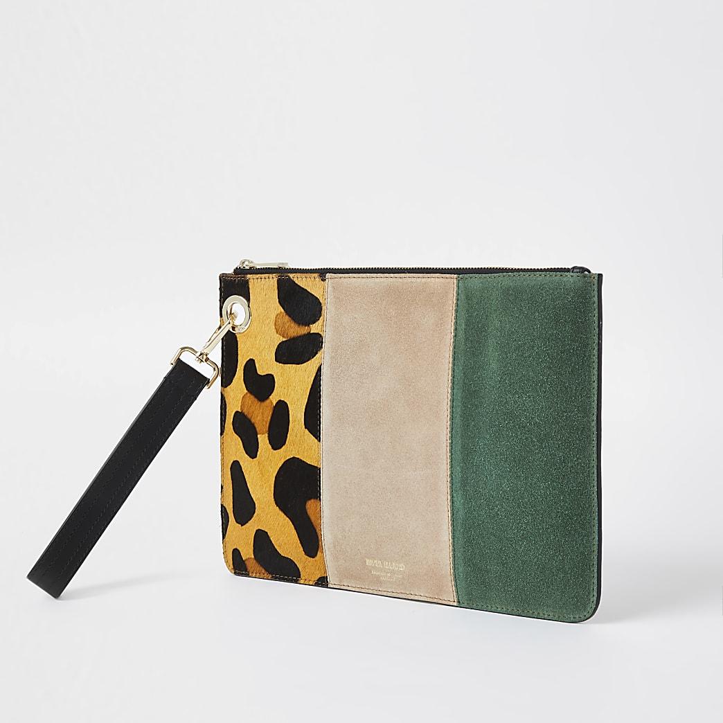Beige leather leopard print clutch handbag