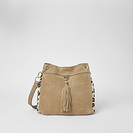 Beige leather leopard print tassel bag