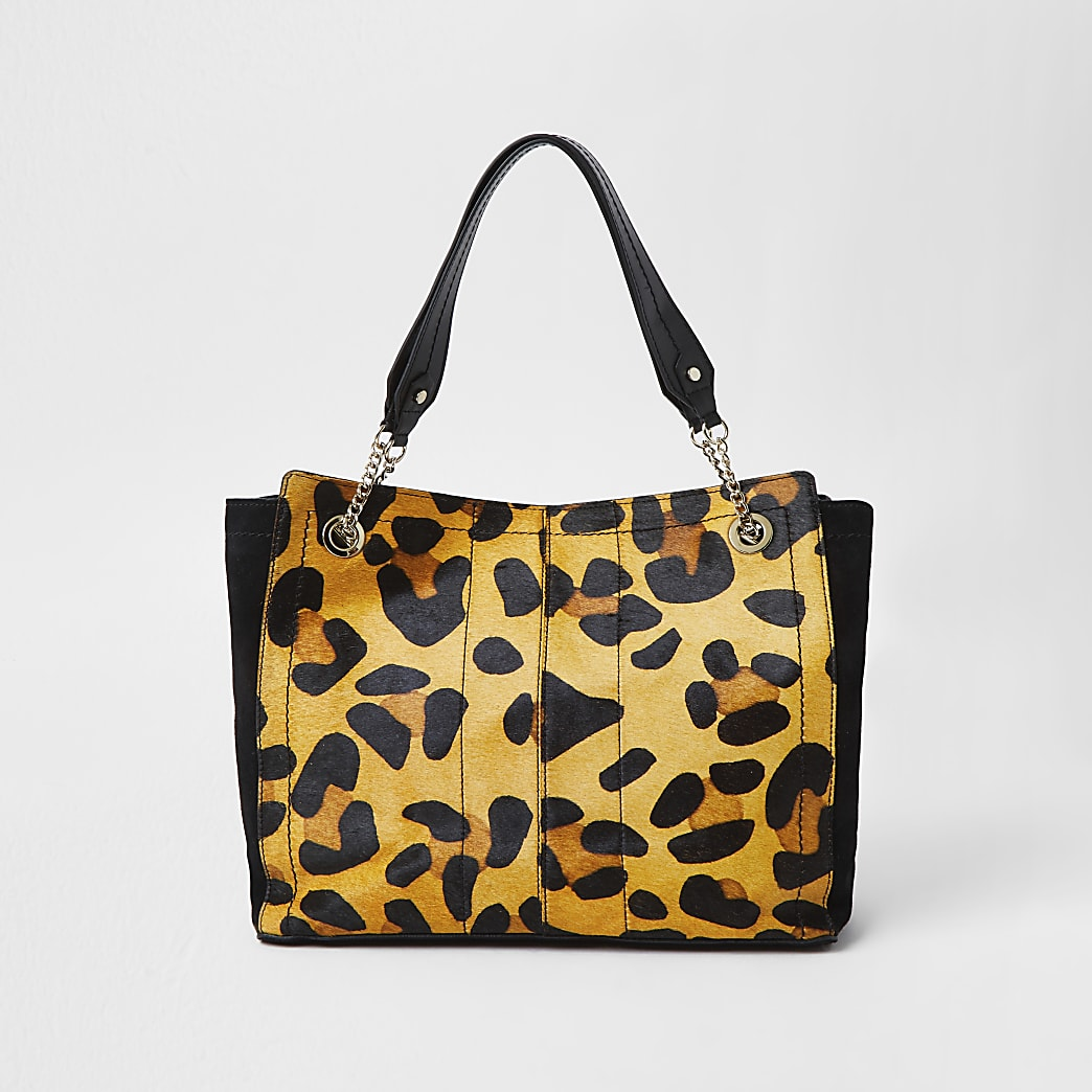 Beige leather leopard print tote bag