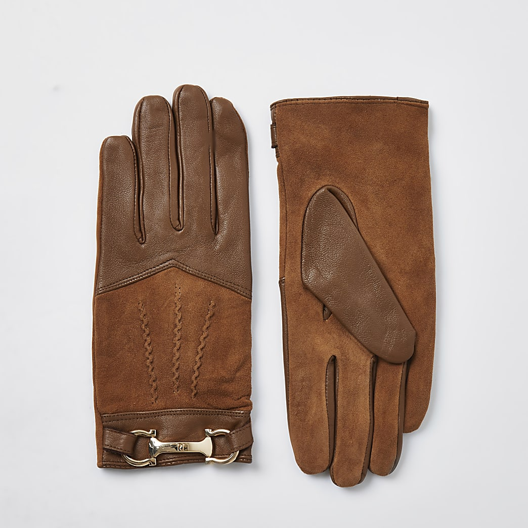 Beige leather RI gloves