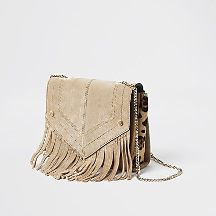 Beige Leather Stud Fringe Cross Body Bag