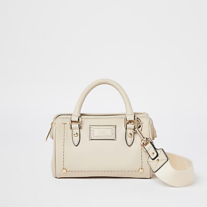 Beige leather studded bag