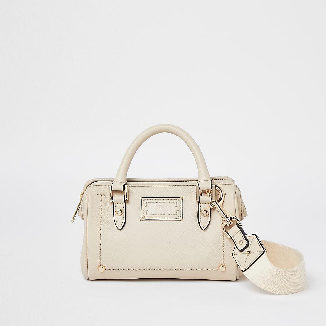 Beige leather studded bag
