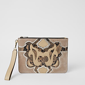 Beige leather studded western clutch bag