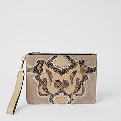 Beige leather studded western clutch bag