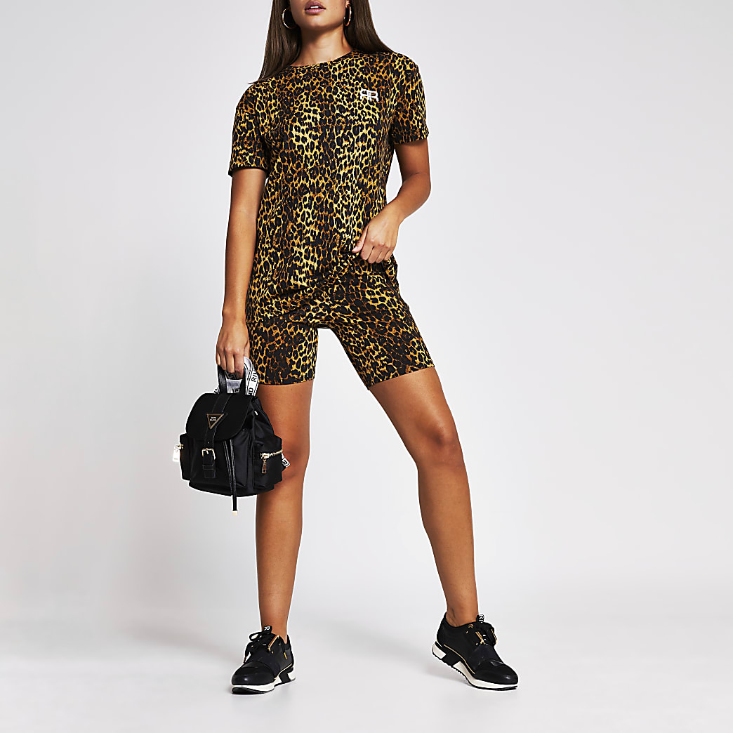 Beige Leopard high waist cycling shorts