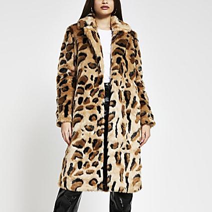 Beige leopard print faux fur coat