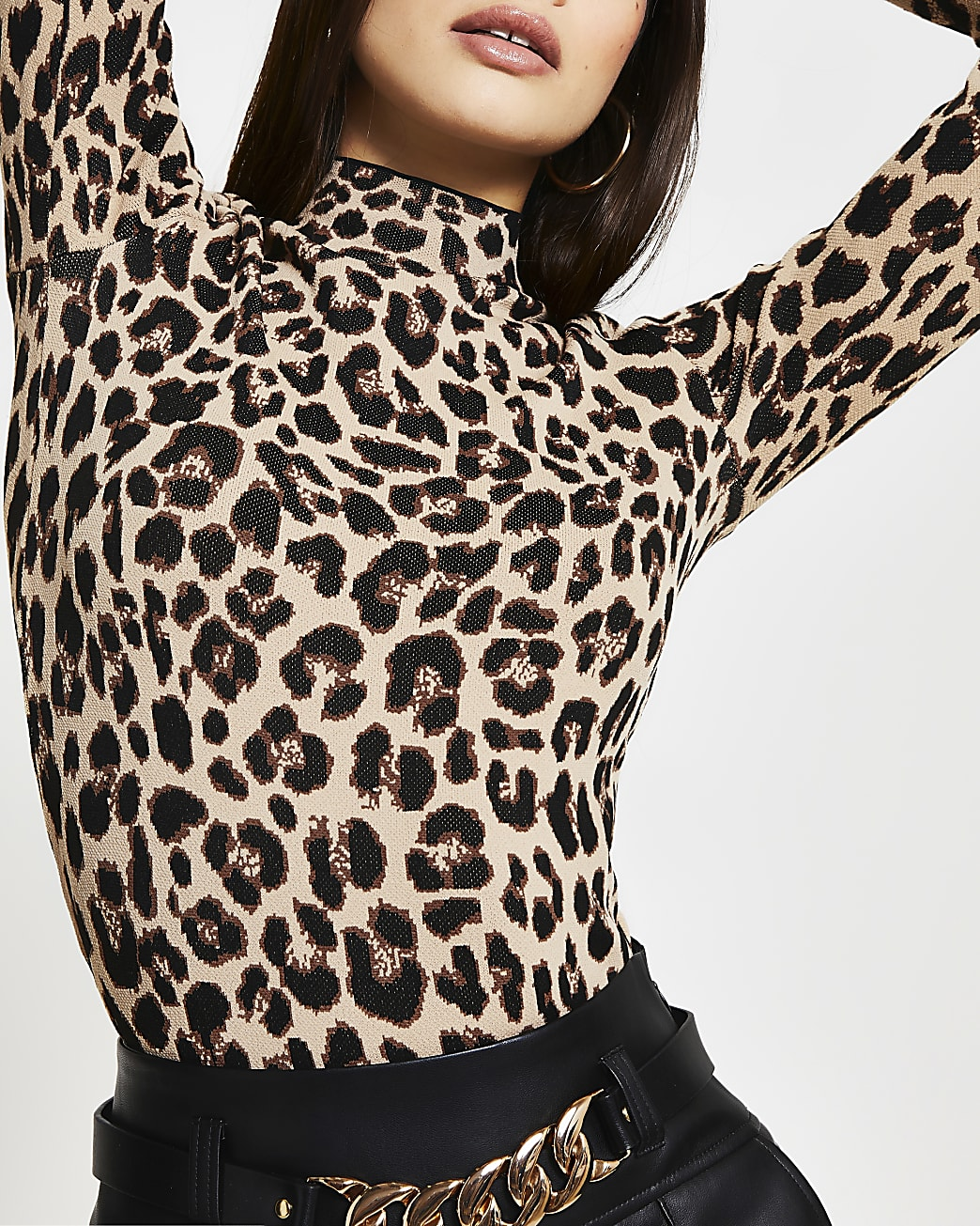 Beige leopard print fitted top