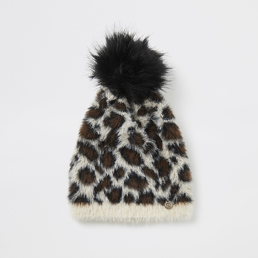 Beige leopard print fluffy knit beanie hat