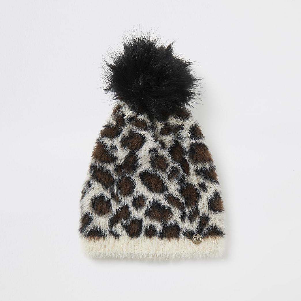 Bonnet duveteux à imprimé léopard beige