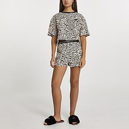 Beige leopard print jersey PJ set