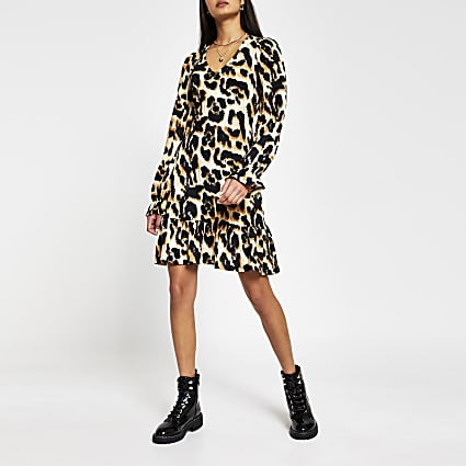 Beige leopard print Long Sleeve mini dress