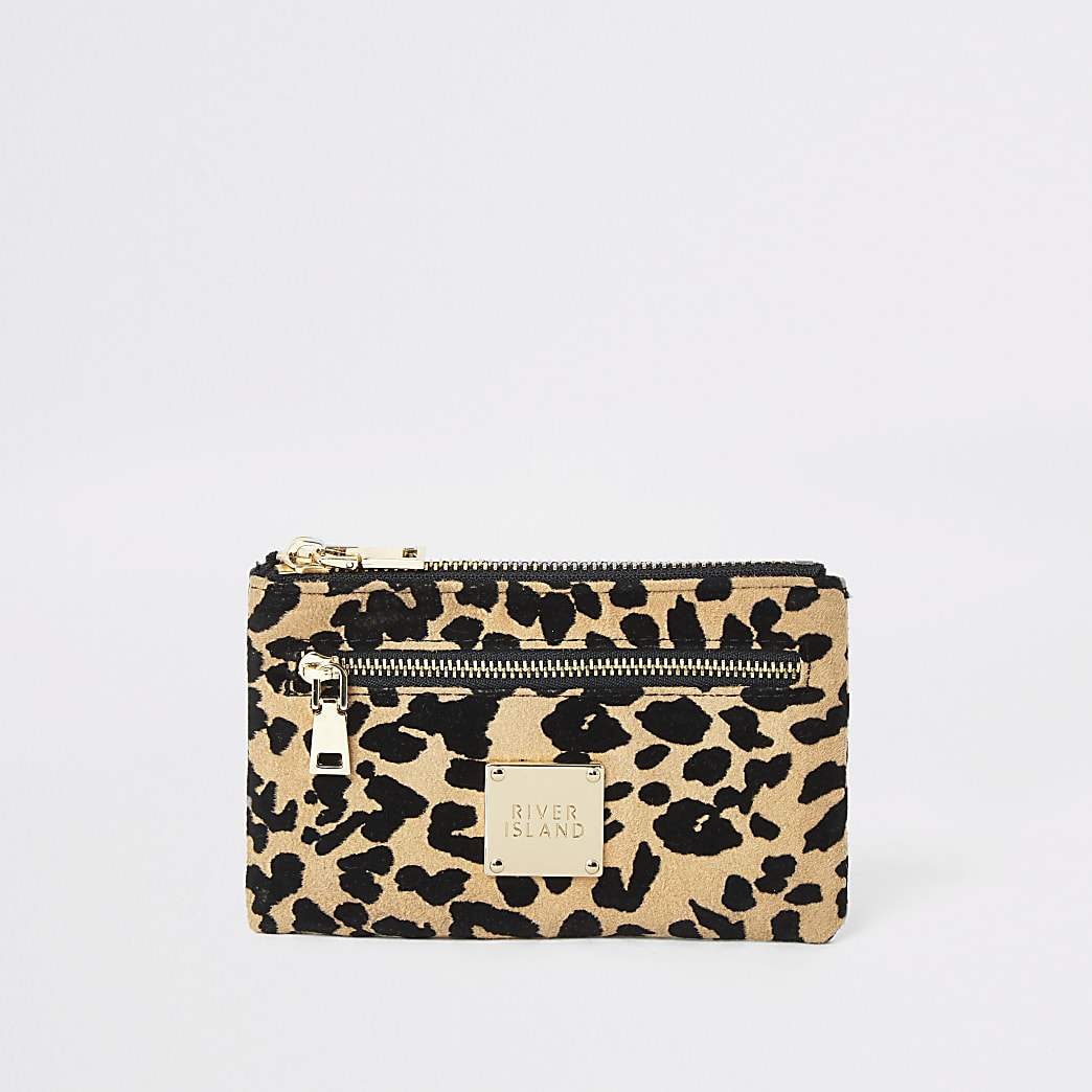 Beige leopard print mini zip pouch
