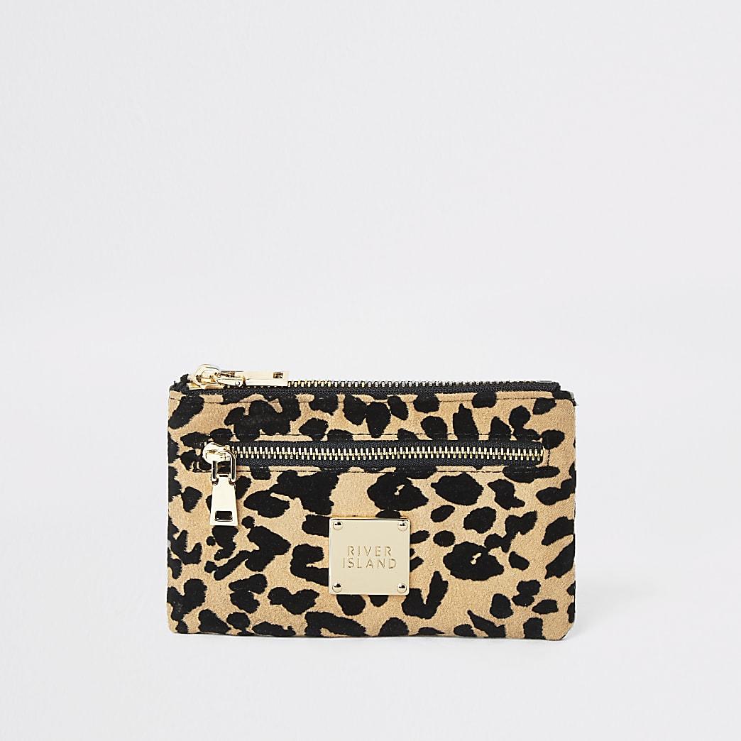 Beige mini buidel met rits en luipaardprint