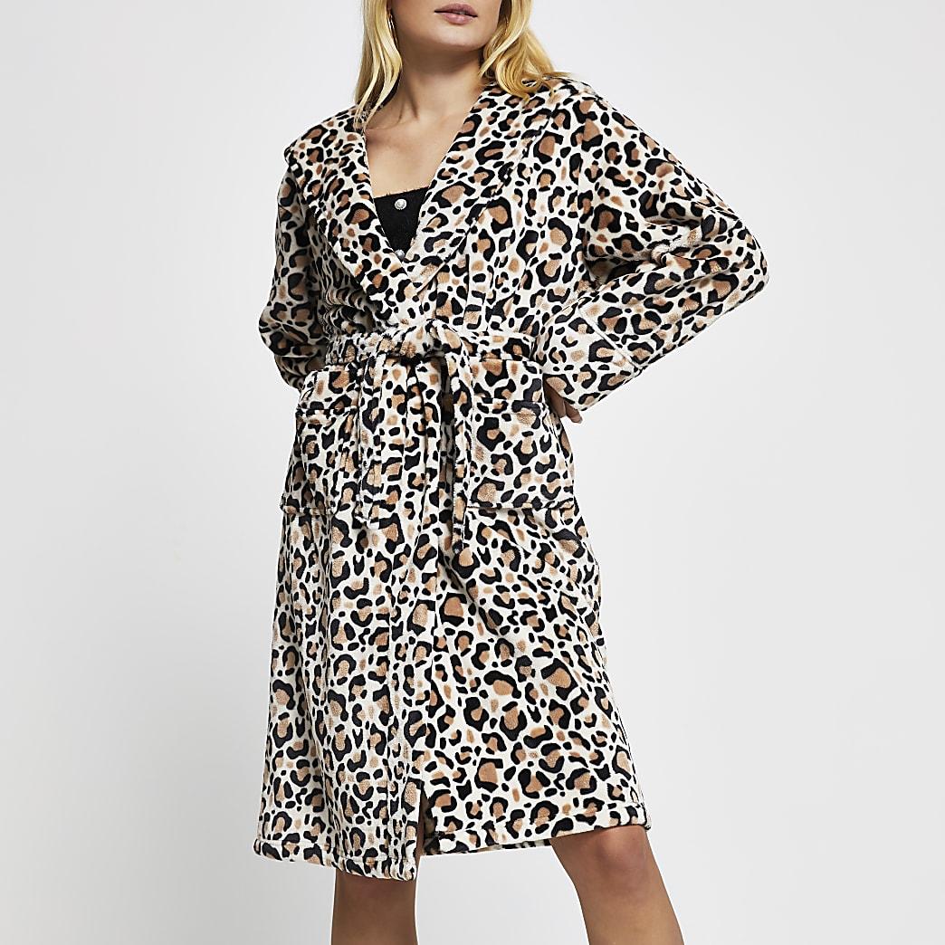 Beige leopard print plush robe