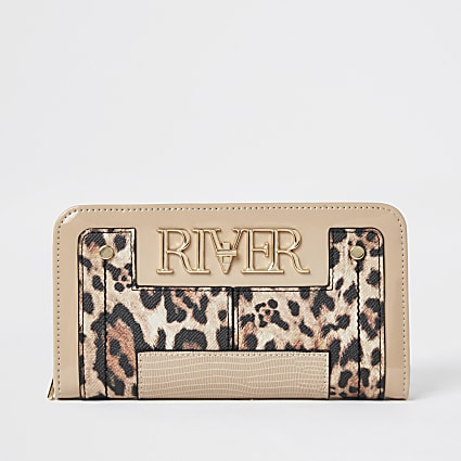 Beige leopard print 'River' zip purse