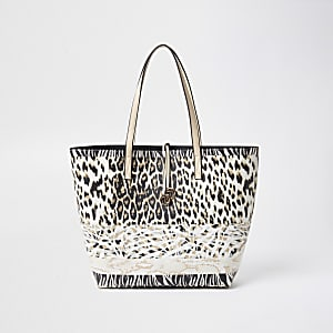 Beige leopard print shopper bag