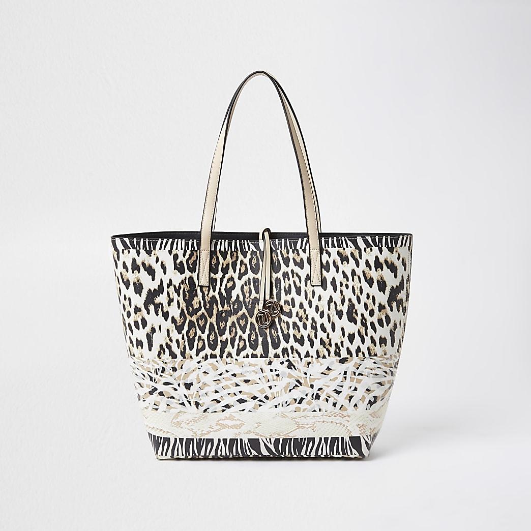 Beige leopard print shopper handbag