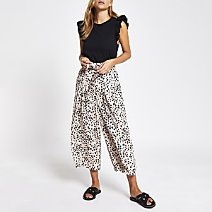 Beige leopard print wide leg cropped trousers