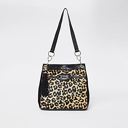 Beige leopard snaffle slouch bag