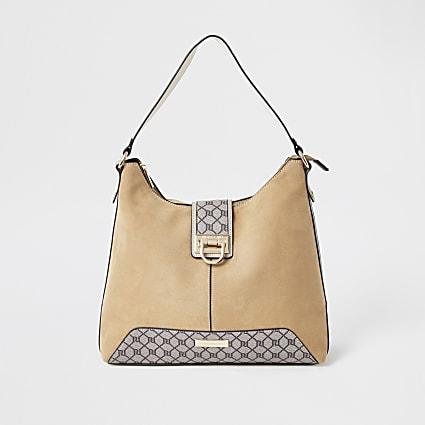 Beige lock front slouch handbag
