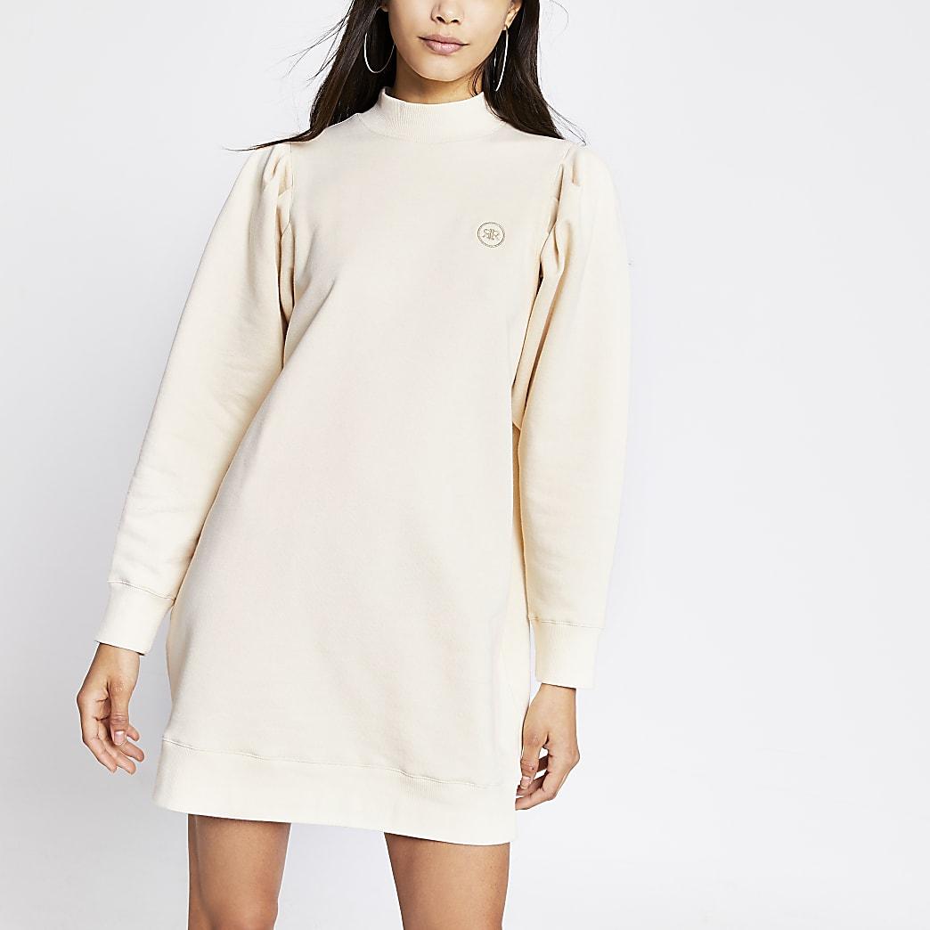 Beige long pleated sleeve sweatshirt dress
