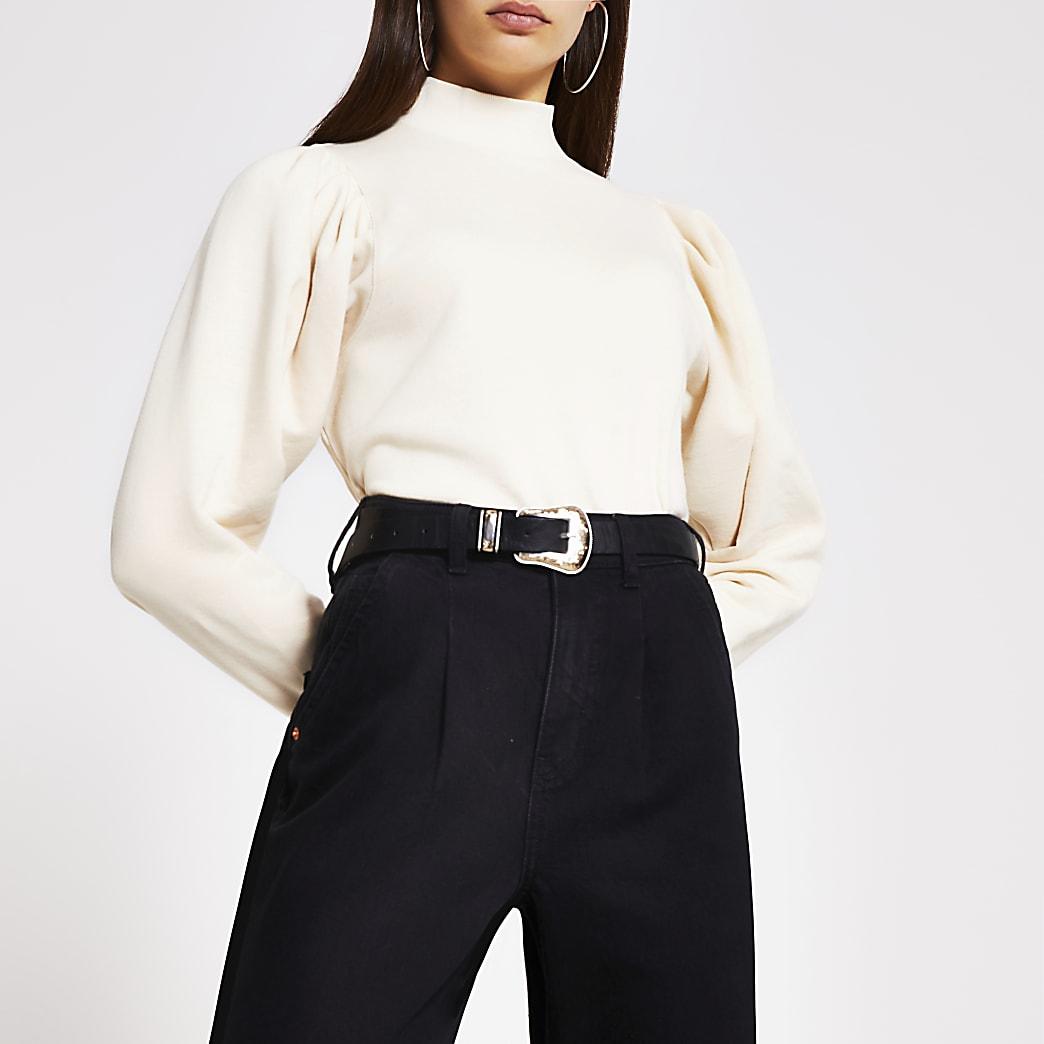 Beige sweater met lange geplooide mouwen