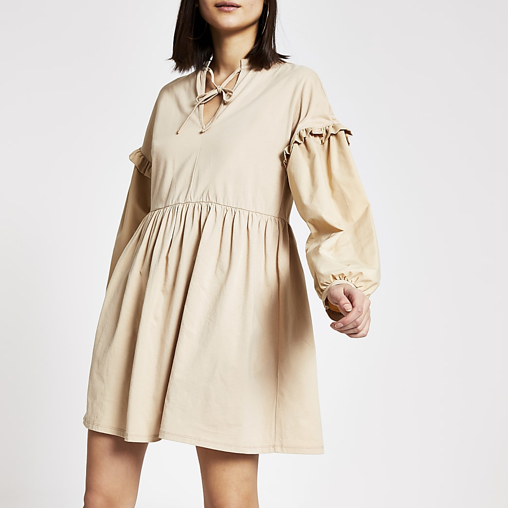 Beige long poplin sleeve mini dress